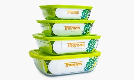 Thomas Eight Piece Oven Safe Glass Food Storage Container ...